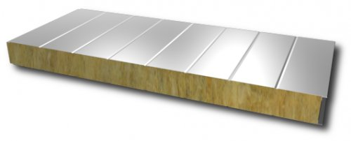 Wall sandwich panel with mineral wool core - visible fixation 150mm