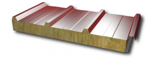 Sandwich panel for roof with mineral wool core 100mm